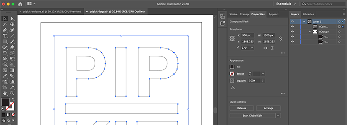 Screen capture of Adobe Illustrator being used to develop the PIP Kit logo
