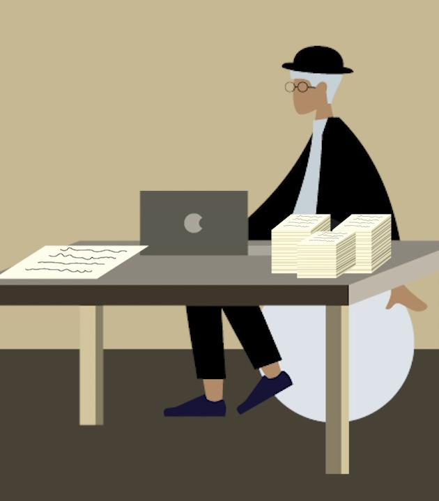 Illustration of DWP civil servant at their desk