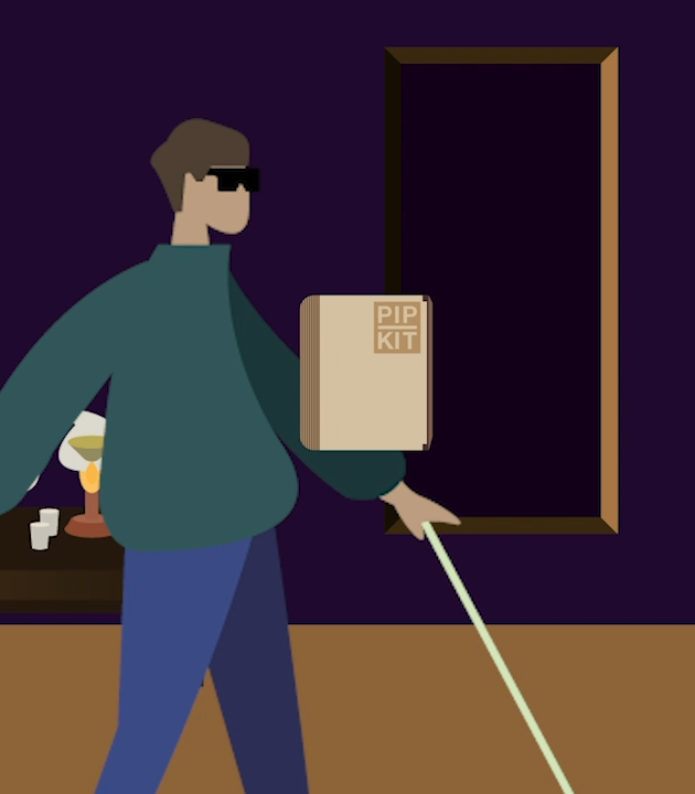 Illustration of a claimant carrying a PIP Kit diary
