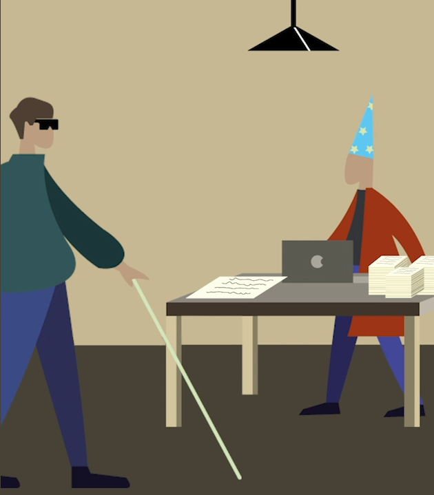 Illustration of an advisor at a desk helping a PIP claimant with form-filling