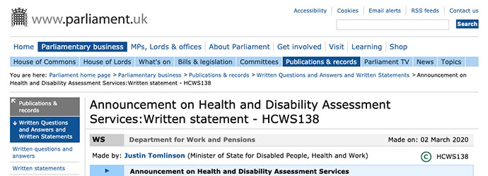 Partial screen capture of the web page documenting the Minister's statement published on parliament.uk