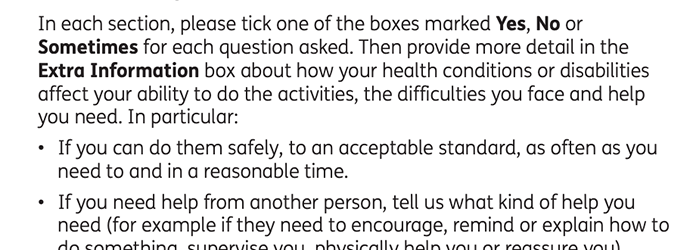 "Screen capture of some of the instructions in the DWP's ""How your disability affects you - information booklet"""