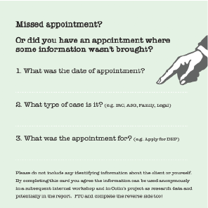 Missed appointment response card, printed on 120mm square light green card stock