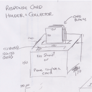 Pencil sketch of the proposed response card holder and collector